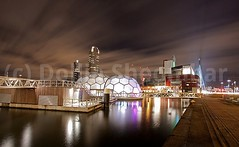Floating Pavilion Rotterdam (DolliaSH) Tags: city longexposure bridge light sky holland reflection dutch architecture night clouds canon reflections lights design rotterdam topf50 fotografie erasmus nederland thenetherlands balls structure montevideo avond luxor topf100 showcase kopvanzuid futuristic 1022 erasmusbrug zuidholland wilhelminaplein canonefs1022mmf3545usm rijnhaven visitholland canoneos50d nieuweluxortheater stadshavens dollia dollias rotterdamclimateinitiative sheombar dolliash drijvendpaviljoen nationalwatercentre floatingpavilionrotterdam dutchwatersector dutchdeltadesign netherlandswaterpartnership klimaatprogramma rotterdamphotographersheaven