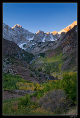 Alpenglow in McGee Canyon (jeandayphotography.com) Tags: california ca trees snow mountains fall colors forest sunrise october canyon trail aspen mammothlakes sierranevada 2010 mhw jday easternsierranevada jeanday mountainhighworkshops