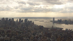 Empire State Building, Manhattan, New York, USA, October 2010 (Statue of Liberty in the distance) (PaChambers) Tags: new york nyc bridge roof panorama usa ny bui