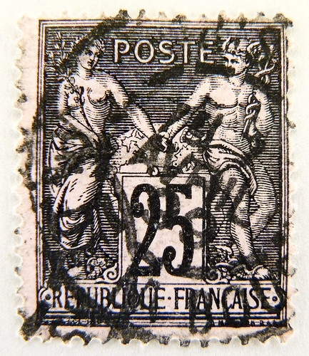 beautiful old french stamp France 25 f postes timbres Republique Francaise Briefmarke Frankreich timbre Francaise France selo Francia francobolli porto postage 25 Postes RF