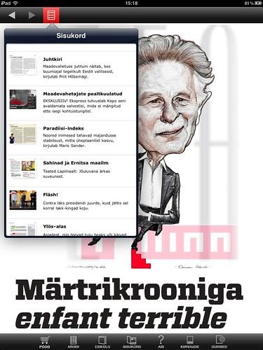 Eesti Ekspress iPadil: sisukord üleval