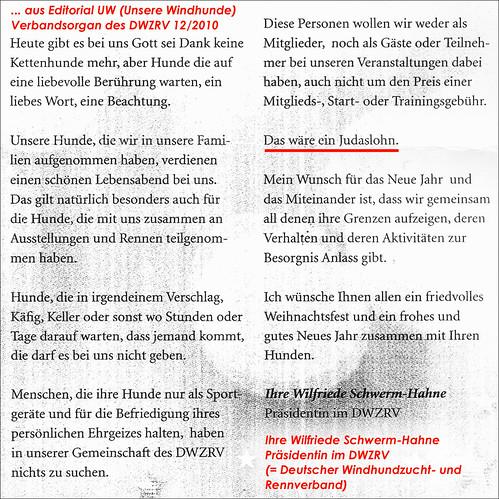 Weihnachtsbotschaft 2010, Editorial UW (Unsere Windhunde) Verbandsorgan des DWZRV, Wilfriede Schwerm-Hahne, Präsidentin
