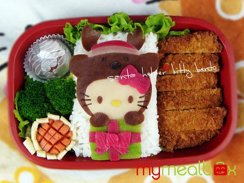Santa helper kitty bento