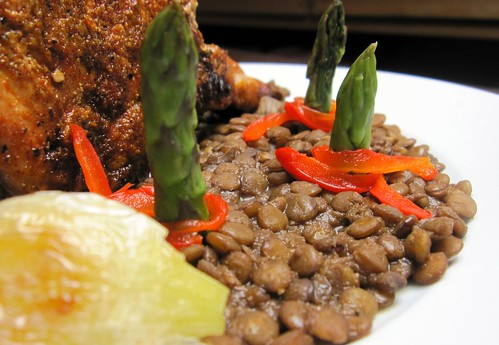 Lentils with chocolate and baked paprika spiked pork chop