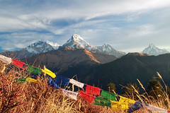 Annapurna range (epeirogenic) Tags: nepal mountain sunrise trek abc prayerflag fishtail poonhill annapurnabasecamp machhapuchhare annapurnasouth annapurnai hiunchuli