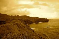 Detailed Clouds (rpitman) Tags: ocean road sea cliff mountains west tree sepia fence hawaii bay waves crash path maui palm clay saturation vegetation napili honolua