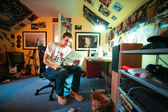 Euan (TGKW) Tags: boy portrait people man electric magazine reading bedroom chair sitting bass laptop room guitars bin cables posters ayr euan speakers amps 3199