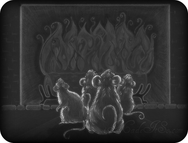 drawing of mice at night
