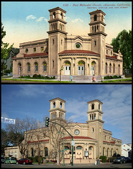 postcard & photo - Alameda First Methodist Church Then & Now (1910 & 2011) (Jassy-50) Tags: california church architecture vintage photo linen postcard mitchell alameda thenandnow thennow gph missionrevival firstmethodistchurch