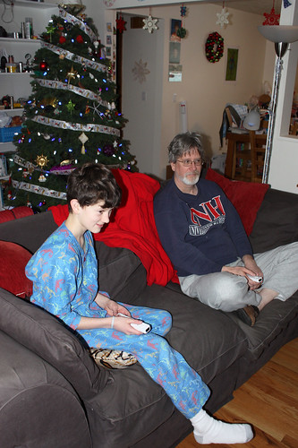 Chris and Ross playing Wii at Christmas