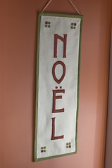 Craftsman style noel banner made with ivory, rust and sage green felt applique (kizilod2) Tags: christmas red white green rose rust sewing banner decoration cream olive ivory craft felt sage mission craftsman applique missionstyle russet artsandcrafts wallhanging artscrafts audubonrusset
