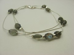 Labradorite and sterling silver beading chain necklace