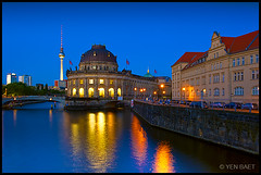 Berlin - The Bode Museum and The Fernsehturm (Yen Baet) Tags: pictures travel light reflection building berlin church museum architecture night reflections river germany deutschland photography twilight europe nightshot traffic cathedral photos dusk landmark icon structure berlinwall alexanderplatz fernsehturm bode bluehour catholicism iconic tvtower berliner deutsch berlinerdom bodemuseum berlijn berlino lighttrail museuminsel     museumisland  berlincathedral riverspree traveldestination  traillight  europeancities germanreunification europeancapital wilhelmvonbode