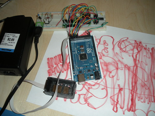 Arduino, breadboard, power supply, and Inkjet carriage