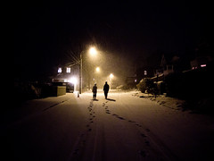 desolate (sam b-r) Tags: street snow night ma marblehead walk pair tracks s101960330