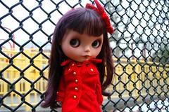 ostra (cybermelli) Tags: red hair doll boots coat fringe blythe brunette bangs dye custom rit couture brilliant haute ebl bhc sammydoe