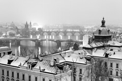 Bridges in Prague / Prask mosty (Jirka Chomat) Tags: city bridge roof winter light bw white snow black water night river theatre bridges praha most academy charlesbridge zima vltava nationaltheatre noc kostel karlvmost msto vyehrad malstrana frantiek svtlo snh nrodndivadlo stechy ernobl strakovaakademie strakaacademy nonmsto legiebridge