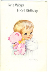 Vintage greetings card - For a baby's first birthday (Dilys Treacle Treasures) Tags: bear baby white girl animals illustration vintage teddy numbers age age1 characters 1980 1979 age2 vintagegreetings vintagedesigns vintagegreetingscards agecards childrensgreetingscards