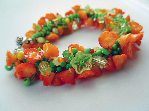 Dyed coral caterpillar bracelet