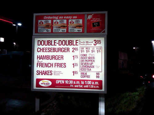 In N Out Burger Drive Thru Menu