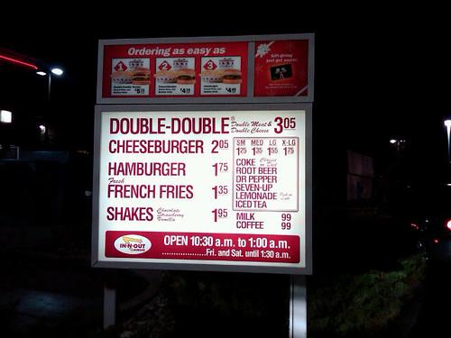 In N Out Burger Drive Thru Menu