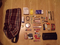Too much lip gloss? (vivacious/confetti) Tags: bag bottle ipod wallet caps lip gloss lighter pens tissues medication lotion opener