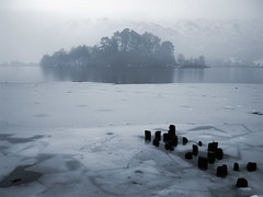 Grasmere in winter (Mr:Mac) Tags: winter mist lake snow mountains tree ice water fog landscape grasmere lakes hills shore cumbria