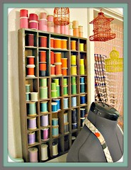 mostly vintage threads ~ mannequin ~ beaded curtain (Pinks & Needles (used to be Gigi & Big Red)) Tags: colors thread rainbow colorful crystal sewing sew anthropologie cratebarrel dressform beadedcurtain cupcakeapron gigiminor miniaturebirdcages wirebirdcages