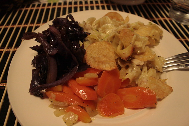 red cabbage, steamed carrots and tuna casserole