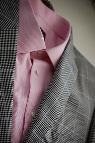 Men's Glen Plaid Sportcoat Pink Shirt