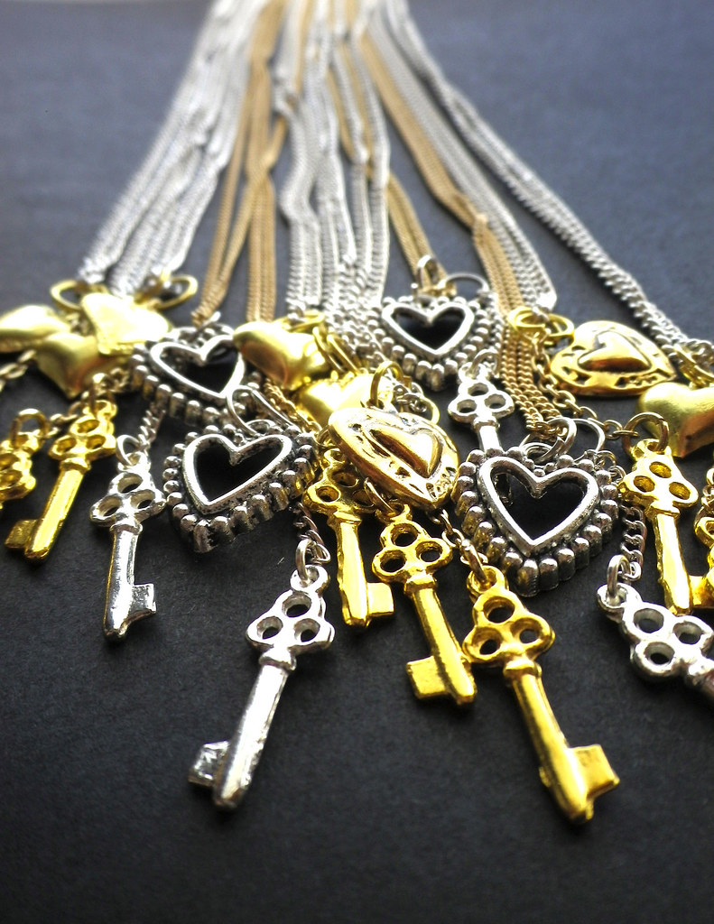 Goldensilver Key to my Heart Necklaces by Glamour Twinkles