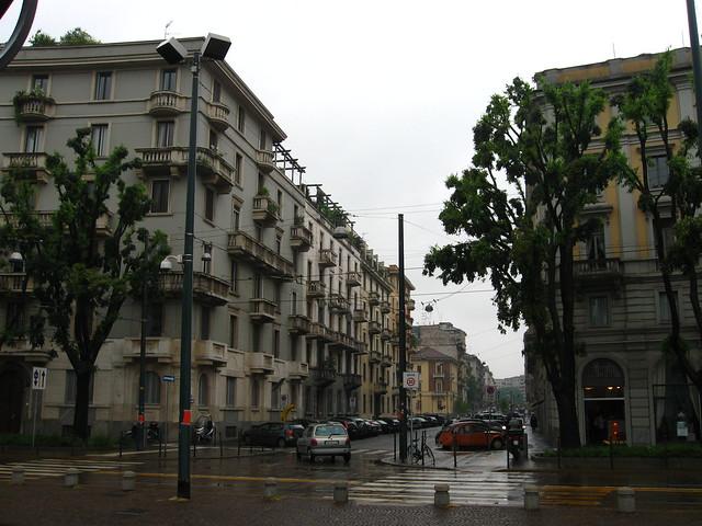 ミラノの街角のフリー写真素材