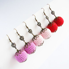 Valentines Day Earrings with crocheted beads