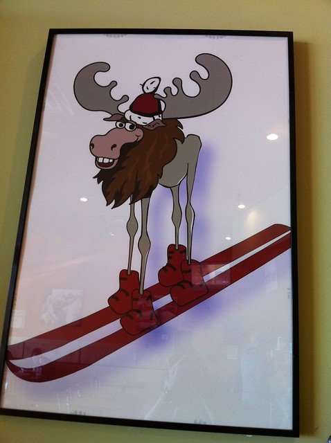 Smiling Moose on Skis