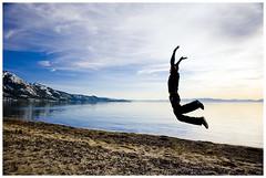 20/52 Tahoe Beach (artchang) Tags: blue selfportrait beach me jump jumping tahoe laketahoe 52weeks nikond700