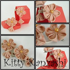 Dusky Pink (Kitty Kanzashi Designs) Tags: flower leaf handmade fabric cotton accessories hairclips tsumami kanzashi