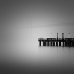 Apparition (maxxsmart) Tags: sanfrancisco california longexposure bridge winter blackandwhite bw water fog canon lights bay pier shadows ghost cables baybridge pier7 2011 bayare lanps ef70200f4lusm canon5dmarkii leebigstopper maxxsmart lee10stopnd lee6hardedgendgrad