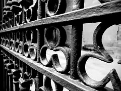 Trboles (SuSa Saez Vergara) Tags: blackandwhite bw byn blancoynegro iron railing clover valla hierro verja trebol tufototureto