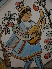 Lute Player, detail (junemcewan) Tags: wall painting scotland mural historic recreation pigments distemper