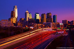 Evening Splendor (TIA International Photography) Tags: city blue winter light sunset urban sunlight reflection building philadelphia skyline skyscraper tia comcast landscape liberty stream downtown cityscape view place traffic dusk pennsylvania january center trail rush hour vista metropolis interstate philly tosin 76 arasi tiascapes tiainternationalphotography