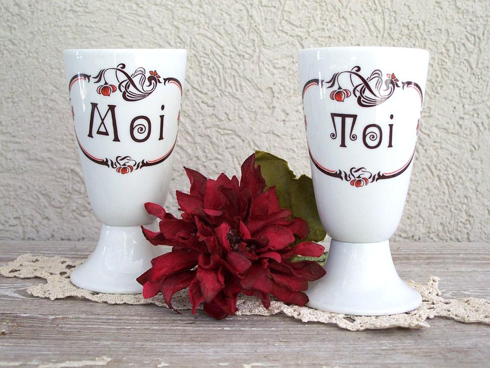 vintage french porcelain goblets moi toi limoges france