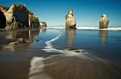 Two sisters left standing (loveexploring) Tags: longexposure newzealand cliff coast northisland tasmansea taranaki seastack thethreesisters mounttaranaki tongaporutu mountegmont northtaranakibight