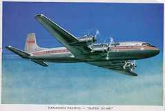 Canadian Pacific Super DC-6B (SwellMap) Tags: postcard vintage retro pc chrome 50s 60s sixties fifties roadside midcentury populuxe atomicage nostalgia americana advertising coldwar suburbia consumer babyboomer kitsch spaceage design style googie architecture airplane jet airliner airport