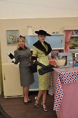 CC Mason and her mum Kenwood Display (Randi M) Tags: goodwood revival 2016 fashion v vintagefashion vintagehat vintagegloves vintage suit wwii kenwood