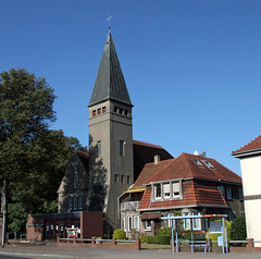 Evangelical-Methodist Church (Schwanzus_Longus) Tags: delmenhorst german germany old classic vintage building church tower steeple lutheran protestant evangelic methodist dark religion house god evengelical
