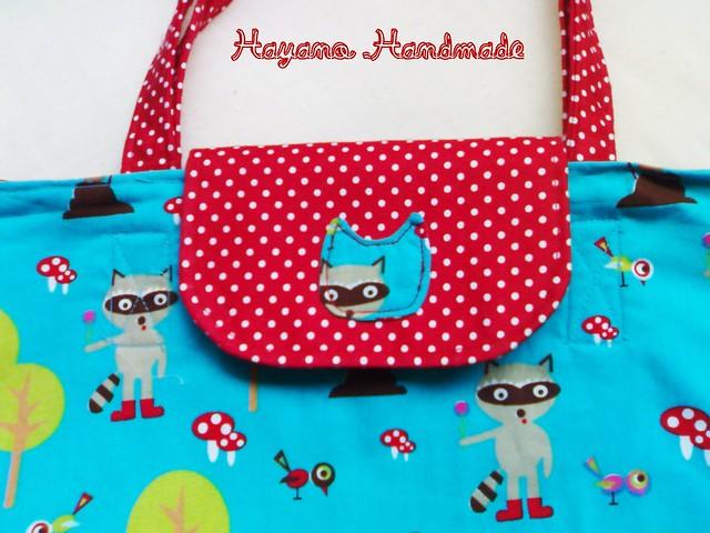 racoon tote bag 1 - details