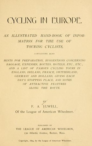 Title Page, Cycling in Europe (book, 1899)