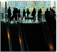 Daily frenzy (Nespyxel) Tags: berlin station backlight germany deutschland escalator silhouettes passengers stazione germania controluce frenzy movingstaircase berlino scalemobili passeggeri challengeyouwinner