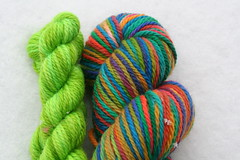 Yarn Pirate Aran BFL-- Rainbow + Lime Trim