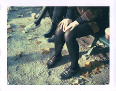 Girls on a bench (emilie79*) Tags: girls polaroid180 iduvfilm